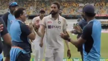 Mohammed Siraj Leads Team India Towards Dressing Room After Scalping Maiden Five-Wicket Haul in Brisbane (Watch Video)