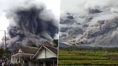 Semeru Volcano Eruption in Indonesia Scary Pics and Videos: Java Island's Highest Volcanic Mountain Spews Hot Clouds of Ash and The Visuals are Terrifying!