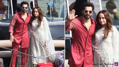 Varun Dhawan and Natasha Dalal Spotted At Mandwa Jetty! Newlyweds Happily Pose For Shutterbugs (View Pics)