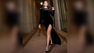 Nora Fatehi In A Thigh-High Slit Figure Hugging Velvet Dress Is Here To Slay (View Pic)