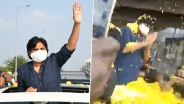 Pawan Kalyan's Fans Welcome the Megastar With Oodles of Flowers Amid a Political Rally in Tirupati (Watch Video)