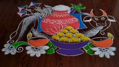 Latest Mattu Pongal Rangoli Designs: Kaanum Pongal 2021 Kolam Patterns, Easy Pot Muggulu Ideas and Dot Rangoli to Celebrate the Harvest Festival With Joy (Watch Video Tutorials)