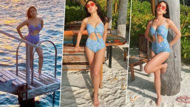 Sara Ali Khan Flaunts Her Sexy Beach Body in a Blue Monokini As She Soaks Up the Maldivian Sun (View Pics)