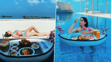 Sara Ali Khan Gives a Sneak Peek of Her Lunch Spread in the New Pictures From Her Maldives Vacation but It Is Her Camo Heart Bikini That Stole Our Hearts (View Pics)