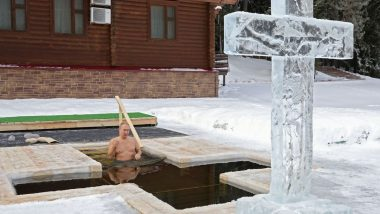 Vladimir Putin, Russian President Takes a Dip in Icy Waters as Believers Mark Orthodox Epiphany, View Pics