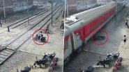 Trying to Cross a Railway Crossing? This Man Tried to Do That and Had His Bike Crushed Under a Train While He Had a Narrow Escape! Watch Video