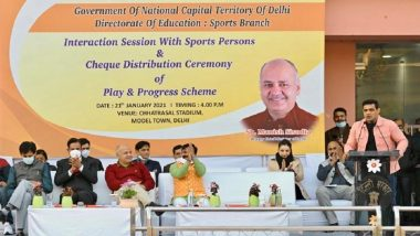Delhi Deputy CM Manish Sisodia Distributes Cheques Worth Rs 7.48 Crore As Financial Assistance to 307 Sportspersons, Says 'It Is CM Arvind Kejriwal's Dream That Every Student Plays at Least One Sport'