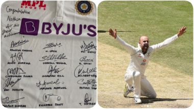 Nathan Lyon Posts a Picture of Signed Jersey from Team India, Thanks Players for 'Kind Gesture' (See Post)