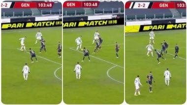 Cristiano Ronaldo Takes On Four Defenders To Create a Goal-Scoring Chance for Hamza Rafia, Debutant Leads Juventus to 3-2 Win Against Genoa, Super Coppa Italia (Watch Video)