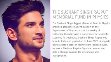 Sushant Singh Rajput Memorial Fund in Physics Set Up at the University of California on Late Actor's Birth Anniversary
