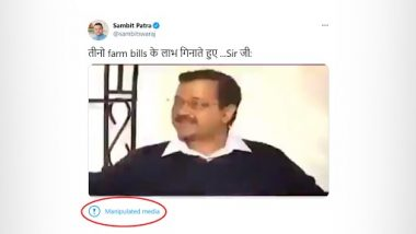 Sambit Patra's Tweet With Edited Clip of Arvind Kejriwal Flagged by Twitter As 'Manipulated Media', AAP's Manish Sisodia Says Will Take Legal Action Against BJP for Sharing 'Doctored Video'