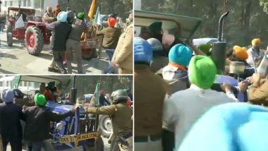 Farmers' Protest Over Farm Laws: Scuffle Breaks Out Between Farmers and Police After Cops Try To Stop Them From Marching to Raj Bhavan in Dehradun (Watch Video)