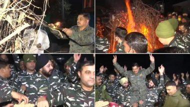 Lohri 2021 Celebrations: CRPF Jawans Dance Around Bonfire, Seen Celebrating the Joyous Festival at CRPF Camp in Jammu (Watch Video)