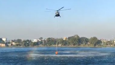 Dzouku Valley Wildfire: IAF Helicopter Refills Bambi Bucket From Lake Near Dimapur To Douse the Raging Fire at Manipur-Nagaland Border (Watch Video)