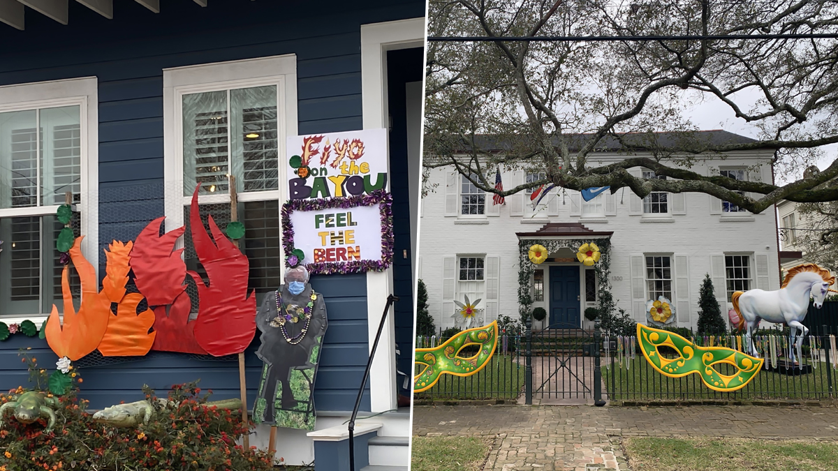 Mardi Gras 2021 In New Orleans Pics And Videos From Bernie Sanders Meme Photo To Spooky Displays People Celebrate Yardi Gras With Unique House Floats Latestly