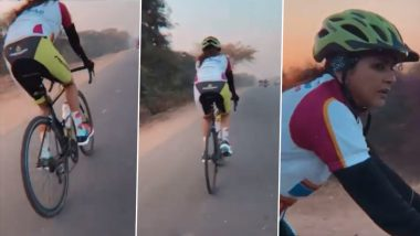 Lakshmi Manchu Cycles 100 km To Support the Differently Abled for Sports (Watch Video)