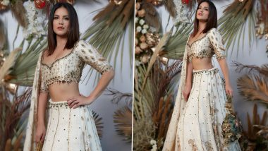 Sunny Leone Indulges in a Sunday Photoshoot, Stuns in an Off-white Lehenga (View Pics)