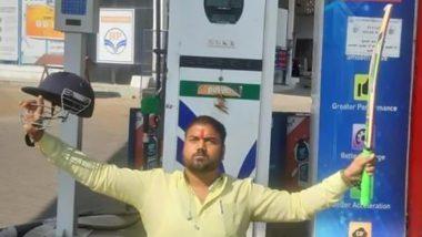 Madhya Pradesh Man Protests by Raising Bat And Helmet After Premium Petrol Price in Bhopal Crossed Century-Mark; Image Goes Viral