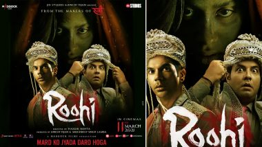 Roohi Posters: Janhvi Kapoor Gives Major Creepy Vibes While Rajkummar Rao and Varun Sharma Look Frightened by This Sight (View Pic)
