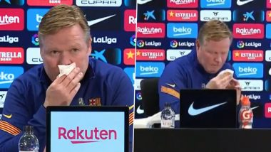 Barcelona Boss Ronald Koeman Suffers From Nose Bleed During Press Conference Ahead of Sevilla Clash in La Liga 2020-21 (Watch Video)