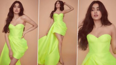 Janhvi Kapoor Kickstarts Roohi Promotions By Picking A Little Neon Dress With An Elaborate Train (View Pics)