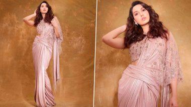Yo or Hell No? Nora Fatehi in a Baby Pink Fusion Saree By Tarun Tahiliani