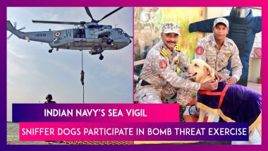 Indian Navy Simulates Bomb Threat Exercise, Sniffer Dogs Slither Down From Chopper, Watch