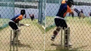 Ajinkya Rahane Sweats It Out in Nets Ahead of India vs England 1st Test in Chennai (Watch Video)