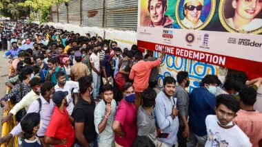 IND vs ENG 2nd Test 2021: Fans Throng Chennai's Chepauk Stadium for Tickets, Ignore Social Distancing Norms