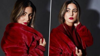 Hina Khan Turns Up The Heat In An All Red Winter Outfit As She Starts Celebrating The Month of Love (View Pics)