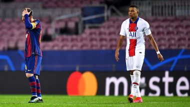Kylian Mbappe Produces Brilliant Skill To Go Past Lionel Messi and Other Barcelona Players in UCL 2020-21 Clash (Watch Video)