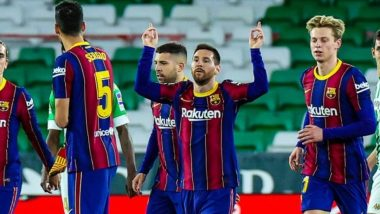 Lionel Messi Reacts After His Brace Guides Barcelona to Seventh Consecutive Victory in La Liga 2020-21 (View Post)