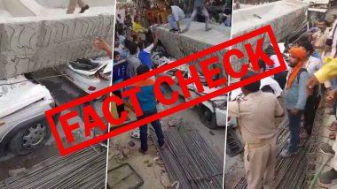 Fact Check: Metro Pillar Collapsed in Thane's Balkum? 2018 Video of Varanasi Flyover Collapse Accident in Uttar Pradesh Shared With False Claim