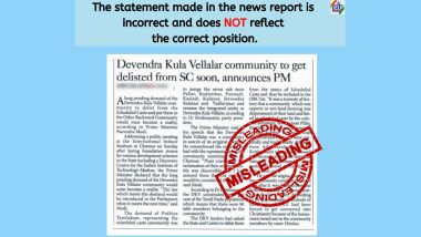 Devendra Kula Vellalar community to be Delisted from Schedule Caste? PIB Fact Check Reveals the Truth Behind Misleading News Report