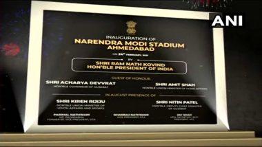 Narendra Modi Stadium: President Ram Nath Kovind Inaugurates The Venue in Presence of Amit Shah, Sports Minister Kiren Rijiju Ahead of IND vs ENG Pink-Ball Test