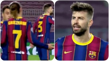 Antonie Griezmann, Gerard Pique Fight Video: Watch These Two Stars Get into an Ugly Spat With Each Other During Barcelona vs PSG UCL 2021 Football Match