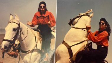 Raveena Tandon Shares Throwback Pic Riding a Horse from the Sets of Shah Rukh Khan's 1995 Film Zamaana Deewana