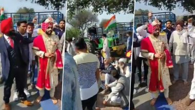 Groom in Haryana's Pehowa Joins 'Chakka Jam' on His Way to Marriage Hall, Delays His Wedding Ceremony Despite Farmers Making Way For His Baraat (Watch Video)