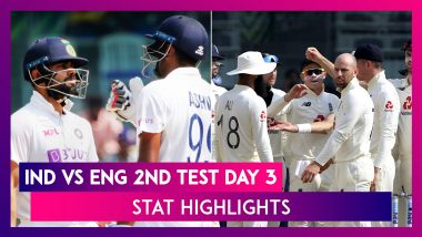 IND vs ENG 2nd Test 2021 Day 3 Stat Highlights: Ravi Ashwin's All-Round Show Puts Hosts in Control