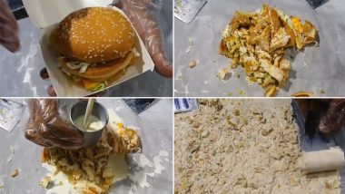 McDonald's Chicken Burger Ice-Cream? Viral Video of Cold Stone Dessert Made Out Of McChicken is Flipping Netizens Out! LOL at Funny Weird Food Memes and Jokes