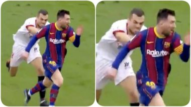 Lionel Messi Targeted by Joan Jordan During Sevilla vs Barcelona, La Liga 2020-21, Midfielder Desperately Attempts to Pull Argentine to the Floor (Watch Video)