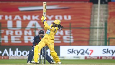 T10 League 2021: Chris Gayle Scores 22-Ball 84 in Abu Dhabi T10, With Six 4s and Nine 6s (Watch Video)