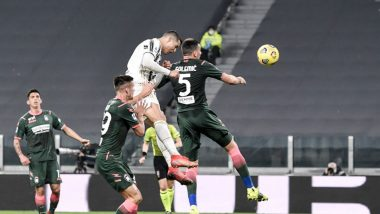 Cristiano Ronaldo Reacts After a Brace Against Crotone in Serie A 2021, Netizens Label Juventus Star as 'CR7 Airlines' (Watch Video)