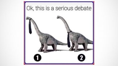 If Dinosaurs Wore Tie, Will It Go on Top or Bottom of Its Long Neck? Twitter Users Puzzled Over the 'Serious Debate' After Bizarre Pic Goes Viral (Check Hilarious Reactions)