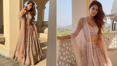 Disha Patani Looks Like a Stunning Goddess in an Embellished Pastel Pink Lehenga (View Pics)