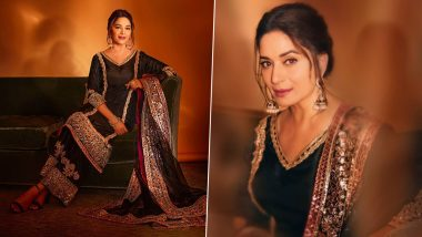 Madhuri Dixit Exudes Elegance in a Manish Malhotra Traditional Embroidered Suit