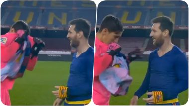 Lionel Messi Shocks Elche Goalkeeper Edgar Badia By Asking For His Shirt After Barcelona Seal 3-0 Win In La Liga 2021 Match (Watch Video)