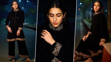 Sara Ali Khan Ups Her Winter Fashion Game in an Ethnic Velvet Suit (View Pics)