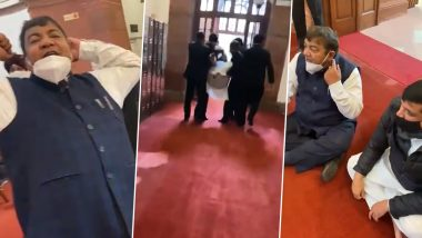 AAP Leader Sanjay Singh 'Dragged Out' of Parliament for Protesting Against Farm Laws (Watch Video)