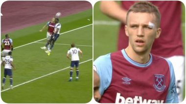 Tomas Soucek Gets Back to Defending After Braving a Gruesome Injury During West Ham vs Tottenham, EPL 2021, Fans Praise Him For Continuing Despite Heavy Bleeding (Watch Video)